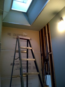 I chose to start on the bathroom and kitchen at the same time, with the intention of moving in asap. I replaced the sheetrock, plumbing, and electric in both rooms...not in that order of course, but planning through three separate phases to streamline the process.